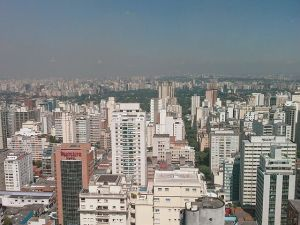The Sao Paulo skyline, and smog.