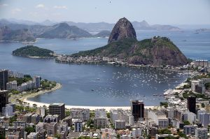 Rio, with Sugarloaf Mountain in the background. (From Wiki Commons)