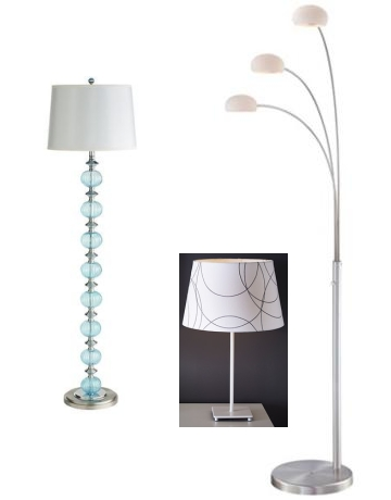 From left: The Aqua Glass Floor Lamp; the Ikea Hemma base with Umfors shade; and the three-headed monster from Kasala.