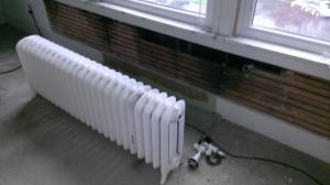 The living room radiator was removed, which meant the wall behind it had to be replastered.