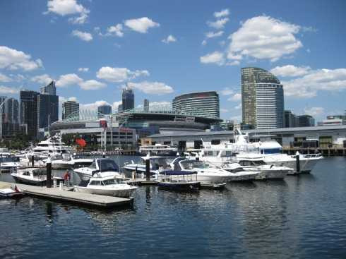 This is the Docklands area on the west side of downtown. In the background is Etihad Stadium, the venue for Aussie Rules Football.