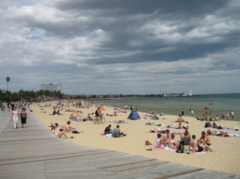 On a hot Saturday afternoon, St kilda Beach was busy. The water was cool at first, but then really refreshing.