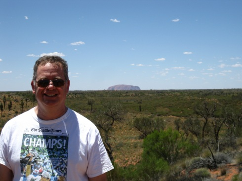 Yup, that's me with Uluru in the background.