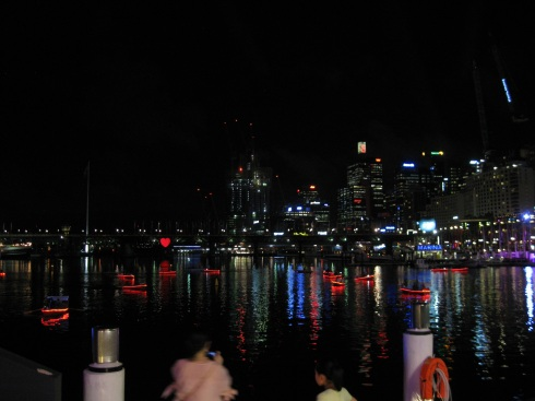 Sydney's Darling Harbor on a sultry summer night.