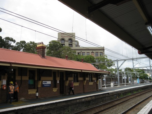 From one of the platforms at Redfern Station, I can see the building where I'm staying -- the Water Tower Building -- in the background.