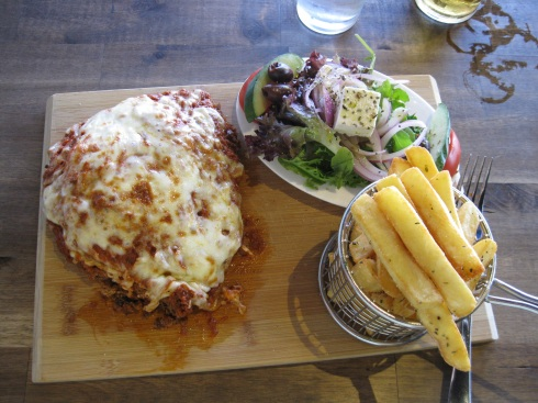 My lunch of chicken parmigiana with sides. The one beer and lunch added up to $28 U.S. No doubt food and beer will end up costing me almost double what it does back home.