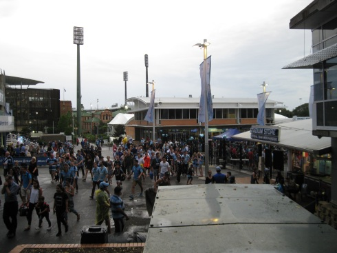 The crowd files in for the soccer match between rivals Sydney FC and Melbourne Victory.