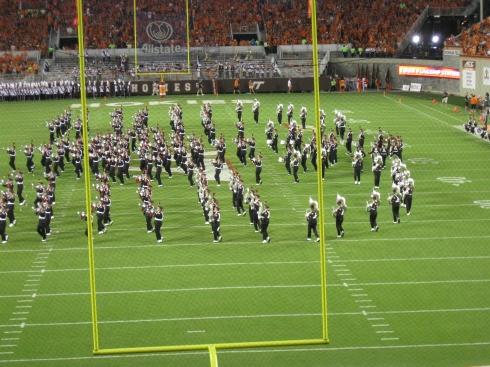 TBDBITL took the field at halftime and did Script Ohio for the first time ever in Virginia.