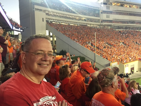 Me wearing red amid all the orange. (Bill photo)
