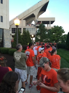 We faced a bit of a line getting into Lane Stadium, but once inside, our seats were close. There was definitely a buzz in the air.
