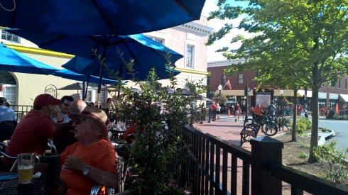 This was the front patio of the bar we went to in downtown Blacksburg. I earned boos from passing Tech students because of my Buckeye shirt. Bar had Bell's 2-hearted on tap, which was nice.