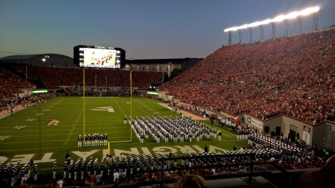 What an incredible evening it was for football. The Tech band takes the field during pregame.