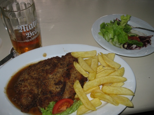 My first truly German dinner: treber Schnitzel. Quite filling.