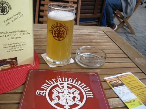 The beer of choice at Ambruasium was a hellas. It was just OK.