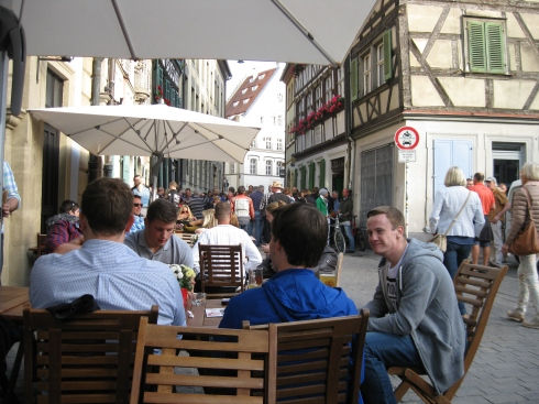 A brewery near the center of touristy Bamberg. Great table for people watching.