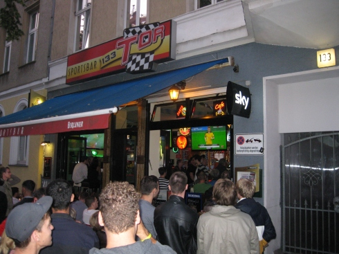 There was a huge soccer match going on between Germany's top two teams. It was standing room inside and outside of every sports bar.