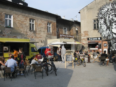 Food trucks in Krakow's Jewish quarter provide comfy chairs too.