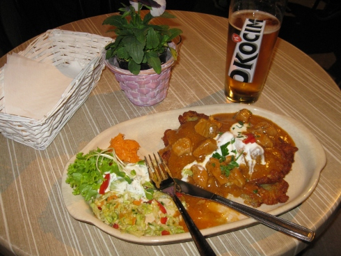 Yummy dinner for first night in Krakow: potato pancakes covered in pork stew.