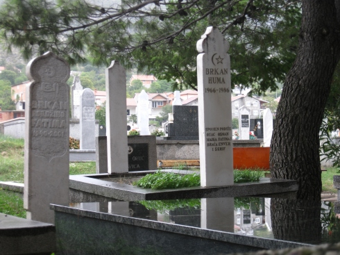 Graves in a Muslim cemetery. I saw one later where many of the dates of death were 1993, the peak of the civil war.