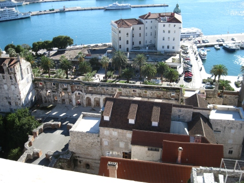 View from the belltower with the south palace wall in the center.