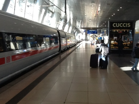 Catching the train to Bamberg from the Frankfurt airport.
