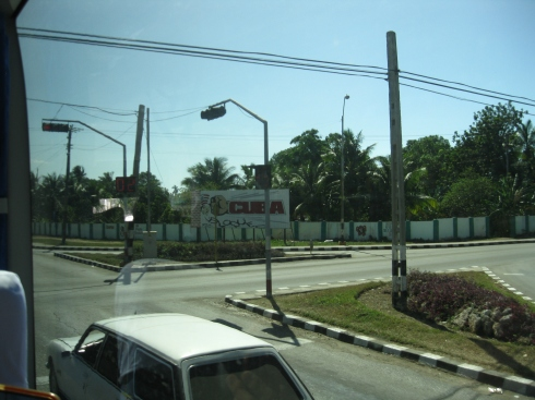 "It's hard to see, but that propaganda billboard was amazing. It shows a ""Cuba"" fist knocking out Uncle Sam."