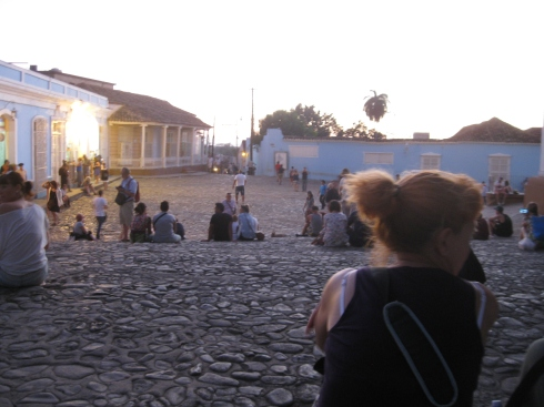 Watching the sunset on the steps outside the Casa de la Musica in Trinidad.