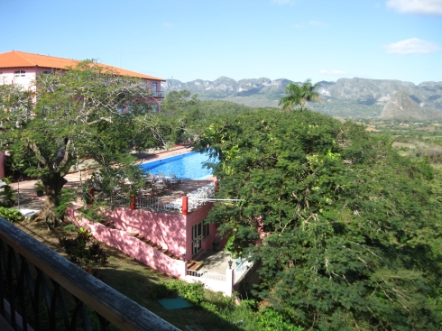 A fancy hotel overlooking the Vinales valley.