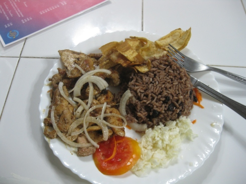 This cost $3,50.  It's a place of chicken from the grill with plantains and rice and beans. It was fantastic.
