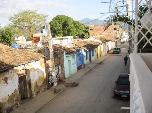 The view up the street from my casa room in Trinidad.