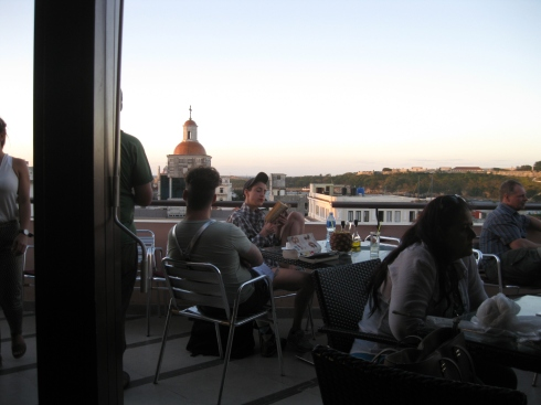 The rooftop terrace bar at Havana's Ambos Mundos hotel in Old Havana.