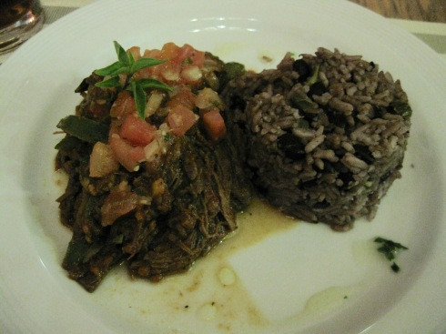 This is the national dish, called Ropa Vieja. It's shredded beef and peppers in a tomato-based sauce. We liked it so much we had it twice at the same restaurant -- Van Van -- in old Havana.